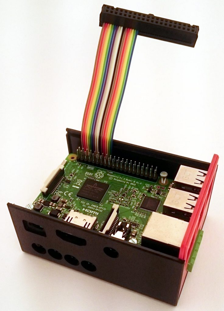 SmartPi board with flat ribbon cable installed